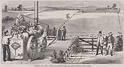 Portable steam engine by Garrett & Sons, Ipswich, being used with ploughing tackle to draw plough (right background) back and forth across a field. Engraving c1860.