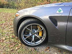 May 4, 2017 - USA - The 2017 Alfa Romeo Giulia Quadrifoglio is an all-new compact performance sedan powered by a 2.9-liter biturbo V-6 engine that puts Alfa Romeo on track as a legitimate performance car brand. Pictured at Deer Grove Forest Preserve, Palatine, Ill., on Nov. 11, 2016. (Credit Image: © Robert Duffer/TNS via ZUMA Wire)