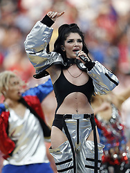 Era Istrefi perform at the closing ceremony prior during the 2018 FIFA World Cup Russia Final match between France and Croatia at the Luzhniki Stadium on July 15, 2018 in Moscow, Russia
