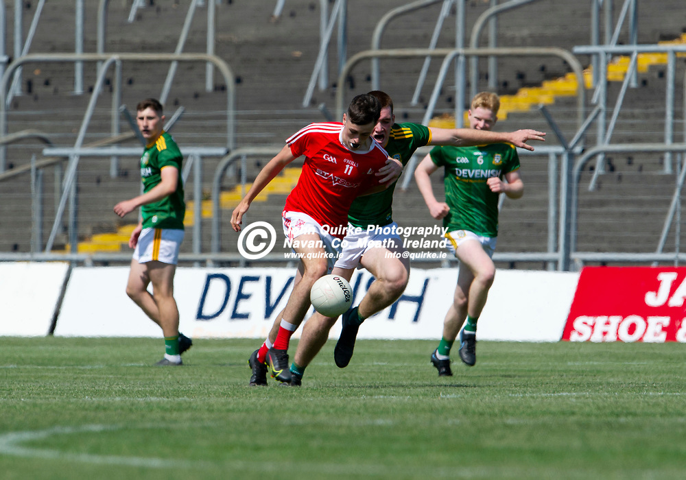 24-07-21. Meath v Louth - Leinster MFC Semi-Final at Pairc Tailteann, Navan.<br /> Kieran McArdle, Louth in action against Meath in the Leinster MFC Semi-Final.<br /> Photo: John Quirke / www.quirke.ie<br /> ©John Quirke Photography, 16 Proudstown Road, Navan. Co. Meath. (info@quirke.ie / 046-9028461 / 087-2579454).
