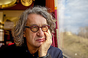 """Film director Wim Wenders (""""Buena Vista Social Club"""")  in the train from Berlin to Prague heading to the international """"Febio-Festival"""". For the opening of the alternative festival 63 years old Wenders was honoured with a retrospective of his films."""
