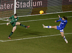 Bristol City Goalkeeper, Frank Fielding clears the ball. - Photo mandatory by-line: Alex James/JMP - Mobile: 07966 386802 - 29/01/2015 - SPORT - Football - Bristol - Ashton Gate - Bristol City v Gillingham - Johnstone Paint Trophy Southern area final