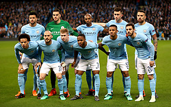 Manchester City's Kyle Walker (back left to right), Ederson, Fernandinho, Aymeric Laporte, Nicolas Otamendi, Leroy Sane (front left to right) David Silva, Kevin De Bruyne, Raheem Sterling, Gabriel Jesus and Bernardo Silva pose for a photograph before the UEFA Champions League, Quarter Final at the Etihad Stadium, Manchester.
