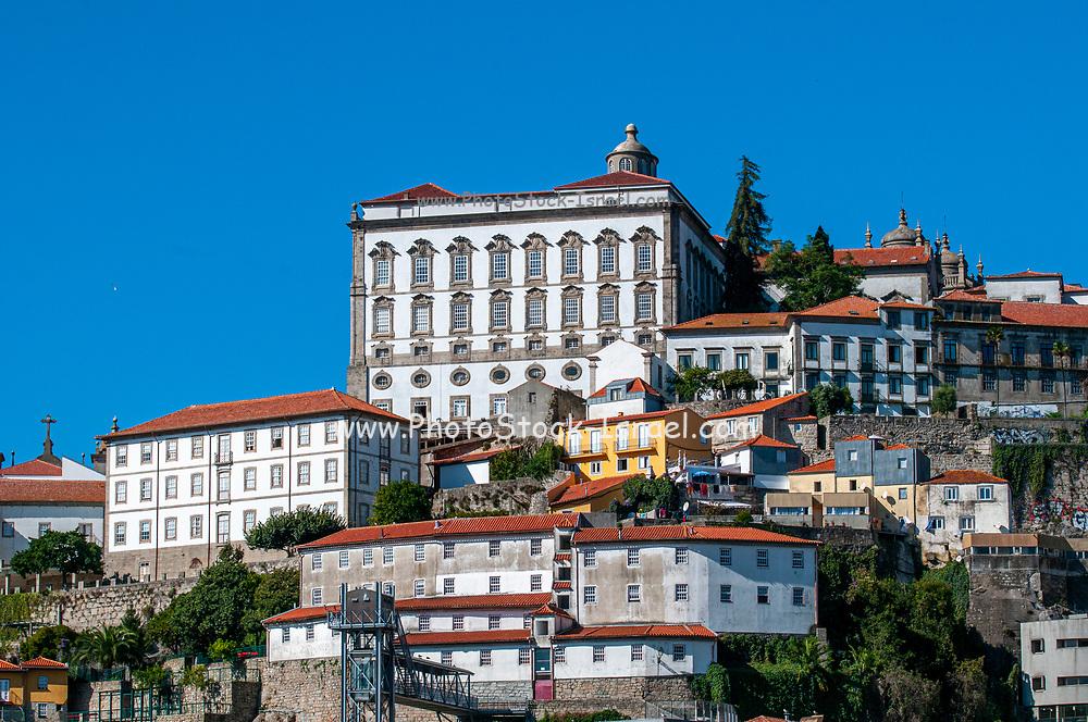 cityscape of Ribeira, Old Town, Porto, Portugal as seen from Vila Nova de Gaia across the Douro River