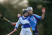 All Ireland Schools Senior B Camogie Quarter Final at Dunganny, Meath, 30th January 2016.<br /> Dunshaughlin CC vs Mercy Roscommon<br /> Kevagh Slater (Dunshaughlin CC) & Rachel Fitzsimons (Mercy Roscommon)<br /> Photo: David Mullen /www.cyberimages.net / 2016