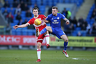 Joe Ralls of Cardiff city ® challenges Jonny Howson of Middlesbrough. EFL Skybet championship match, Cardiff city v Middlesbrough at the Cardiff city Stadium in Cardiff, South Wales on Saturday 17th February 2018.<br /> pic by Andrew Orchard, Andrew Orchard sports photography.