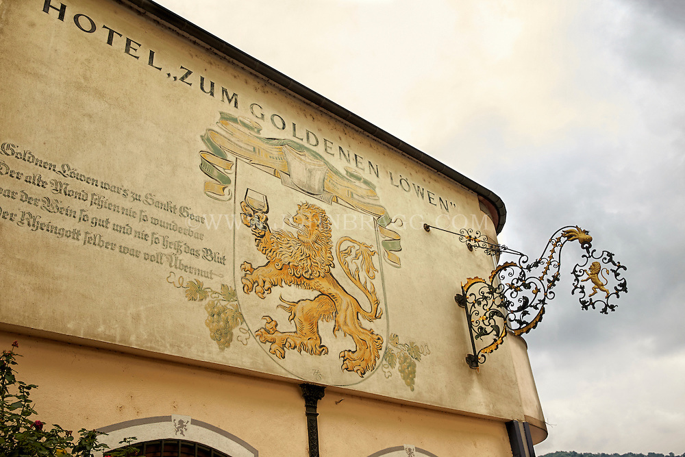 View of the facade sign on the outside of the Golden Lion Hotel, St. Goar, Germany