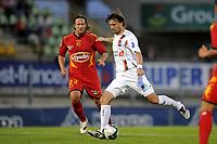FOOTBALL - FRENCH CHAMPIONSHIP 2010/2011 - L2 - LE MANS FC v US BOULOGNE - 10/09/2010 - PHOTO JEAN MARIE HERVIO / DPPI - YOANN LACHOR (USB) / THORSTEIN HELSTAD (LMFC)