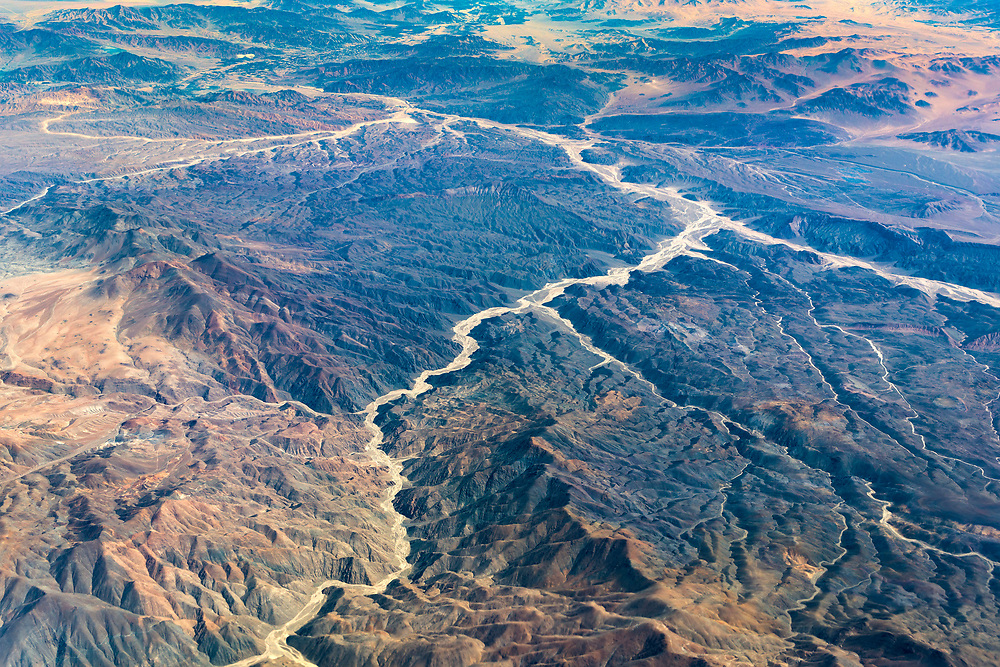 Aerial view of dry rivers and mountains at northern Chile.
