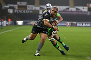 Dmitri Arhip of the Ospreys © powers over and scores his teams 1st try. European Rugby Champions Cup, pool 2 match, Ospreys v Northampton Saints at the Liberty Stadium in Swansea, South Wales on Sunday 17th December 2017.<br /> pic by  Andrew Orchard, Andrew Orchard sports photography.