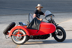 Wheels Through Time's Matt Walksler riding a 45 ci Harley-Davidson Flathhead with a sidecar after the Sons of Speed Vintage Motorcycle Races at New Smyrina Speedway. New Smyrna Beach, USA. Saturday, March 9, 2019. Photography ©2019 Michael Lichter.