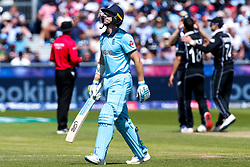 Jos Buttler of England cuts a dejected figure after getting out to Trent Boult of New Zealand - Mandatory by-line: Robbie Stephenson/JMP - 03/07/2019 - CRICKET - Emirates Riverside - Chester-le-Street, England - England v New Zealand - ICC Cricket World Cup 2019 - Group Stage