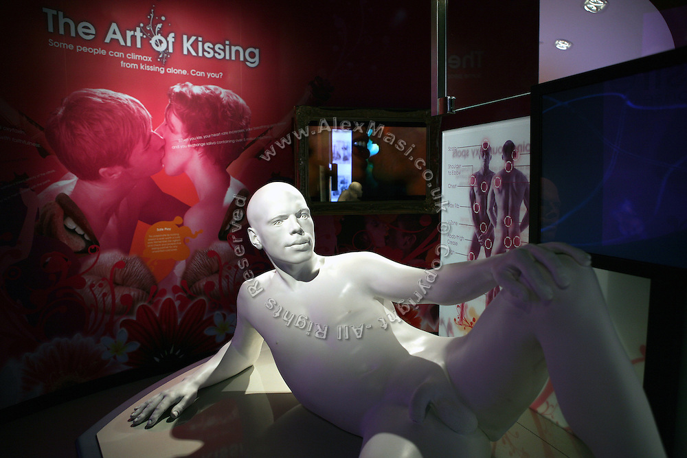A section is dedicated to the art of kissing at Amora, the Academy of Sex and Relationships, on on Tuesday, April 17, 2007, in London, UK. The world's first visitor attraction dedicated to love, sex and relationships opens its door officially tomorrow (18th of April 2007) in Piccadilly. The permanent interactive attraction, Amora, expects to draw over half a million, 18+ visitors in the first year and fuses entertainment, excitement and education in a unique powerful sensory experience. With seven zones covering every aspect of relationships from first filtrations and dating to fantasy and fetish. Visitors can explore the science of attraction - what they find attractive and why, learn how to enhance their skills and even create what their perfect partner might look like. Male and female models help demystify erogenous zones, G-spot and prostate, while insights and technique tips are offered on various topics. Sexual awareness and well-being are also covered thoroughly. **Italy Out**..