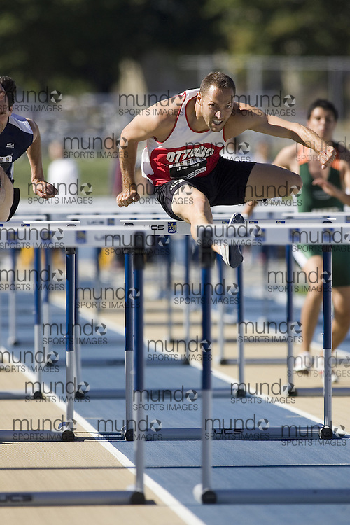 12 July 2007 (Windsor--Canada) -- The 2007 Canadian National Track and Field Championships...James Holder competing in the decathlon 110m hurdles.