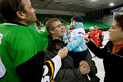 Jakec with his father during Humanitarian hockey derby of legends between Olimpija and Jesenice, on 7 March 2014, in Hala Tivoli, Ljubljana, Slovenia. Photo by Urban Urbanc / Sportida.com