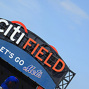 The Citi Field Stadium sign during the New York Mets V San Francisco Giants Baseball game at Citi Field, Queens, New York. 21st April 2012. Photo Tim Clayton