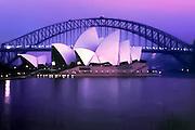 Sydney Opera House and Harbour Bridge at dawn in Sydney, Australia