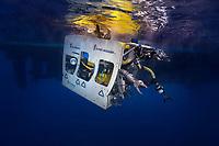 08/Abril/2017. Islas Canarias. El Hierro.<br /> ROV, vehículo submarino operado a distancia a punto de sumergirse para recoger datos y muestras del volcán submarino Tagoro.<br /> <br /> ©JOAN COSTA
