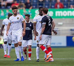 Livingston Marvin Bartley and Falkirk's Michael Doyle argue. Falkirk 1 v 1 Livingston, Livingston win 4-3 on penalties. BetFred Cup game played 13/7/2019 at The Falkirk Stadium.