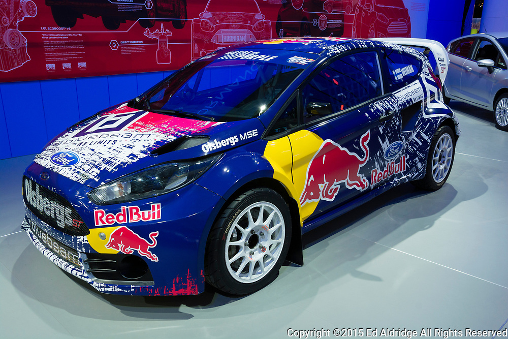 DETROIT, MI, USA - JANUARY 12, 2015: Ford Fiesta ST rally car on display during the 2015 Detroit International Auto Show at the COBO Center in downtown Detroit.