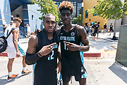THOUSAND OAKS, CA Sunday, August 12, 2018 - Nike Basketball Academy. De'Vion Harmon 2019 #12 of John H. Guyer HS and Kahlil Whitney 2019 #17 of Roselle Catholic HS pose for a photo. <br /> NOTE TO USER: Mandatory Copyright Notice: Photo by Jon Lopez / Nike