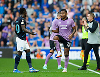 Football - 2021 / 20022 UEFA Champions League - Qualifying Thiurd Round - Second Leg - Glasgow Rangers vs Malmo FF - Ibrox stadium<br /> <br /> Bonke Innocent of Malmo FF is sent off for a challenge on Connor Goldson of Rangers<br /> <br /> Credit: COLORSPORT/Bruce White