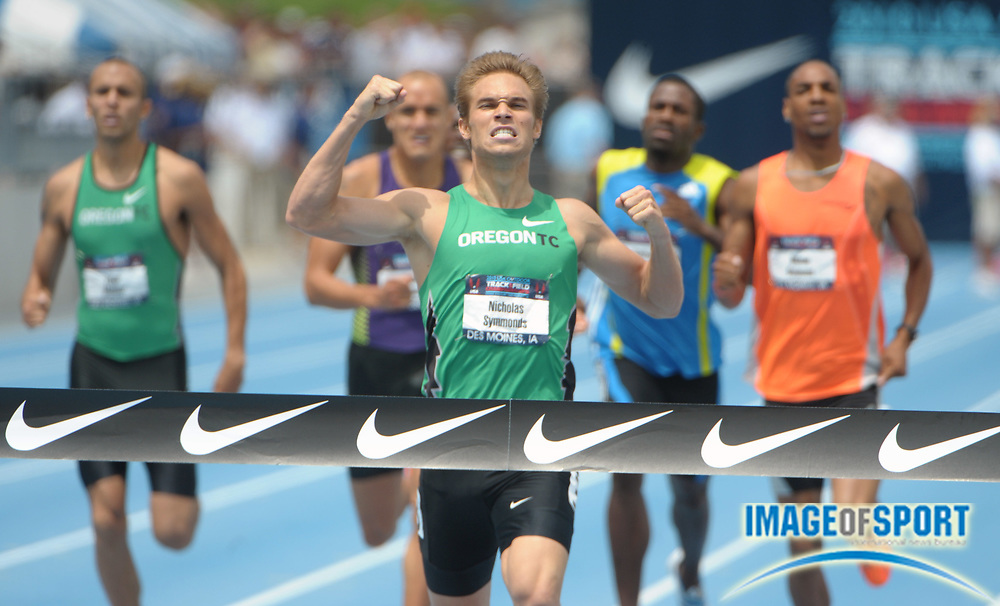 Jun 27, 2010; Des Moines, IA, USA; Nick Symmonds wins the 800m in 1:45.98 in the USA Track & Field Championships at Drake Stadium. Photo by Image of Sport