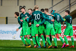 Players of Slovenia celebrates during football match between Slovenia and France in Qualifying round for European Under-21 Championship 2019, on November 13, 2017 in Sportni park, Domzale, Slovenia.  Photo by Ziga Zupan / Sportida