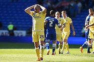 Gary Taylor-Fletcher of Millwall (29) shows his frustration at the final whistle after he had missed a late chance to score. Skybet football league championship, Cardiff city v Millwall at the Cardiff city stadium in Cardiff, South Wales on Saturday 18th April 2015<br /> pic by Andrew Orchard, Andrew Orchard sports photography.