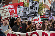 Thousands of students attend a National Demonstration for a Free Education on 4th November 2015 in London, United Kingdom. The demonstration was organised by the National Campaign Against Fees and Cuts NCAFC in protest against tuition fees and the Government's plans to axe maintenance grants with effect from 2016.