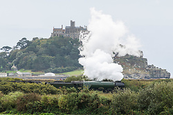 © Licensed to London News Pictures. 6/10/2018 Flying Scotsman arriving at the end of the line in Penzance Cornwall Photo credit : MARK HEMSWORTH/LNP