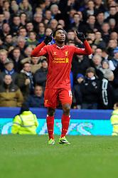 Liverpool's Daniel Sturridge celebrates his goal. - Photo mandatory by-line: Dougie Allward/JMP - Tel: Mobile: 07966 386802 23/11/2013 - SPORT - Football - Liverpool - Merseyside derby - Goodison Park - Everton v Liverpool - Barclays Premier League