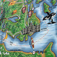North America, Canada, British Columbia. Map Mural painted on brick facade.