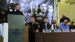 Boxers Derry Matthews (right) and Ohara Davies (left) during the press conference at the Hilton Hotel, Liverpool.