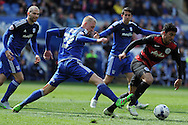 Cardiff City's Lex Immers (27) challenges QPR's Massimo Luongo. Skybet football league championship match, Cardiff city v Queens Park Rangers at the Cardiff city stadium in Cardiff, South Wales on Saturday 16th April 2016.<br /> pic by Carl Robertson, Andrew Orchard sports photography.