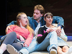 Rita, Sue and Bob Too<br /> By Andrea Dunbar<br /> at The Royal Court Theatre, London, Great Britain <br /> Press photocall <br /> 11Pm h January 2018 <br /> <br /> Directed by Kate Wasserberg <br /> <br /> James Atherton as Bob <br /> <br /> Taj Atwal as Rita <br /> <br /> Gemma Dobson as Sue <br /> <br /> <br /> Photograph by Elliott Franks