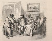 'Barefoot Irish postman delivering letters. Engraving, London, 1872.'