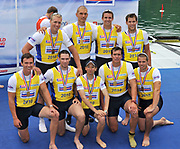 Bled, SLOVENIA,  Men's  Eights, GBR M8+ gold medalist, medal presentation,  at the 1st FISA World Cup. Third day. Bow, Nataniel REILLY-O'DONNELL, James CLARKE, James ORME, James FOAD, Mohamad SBIHI, Greg SEARLE, Peter REED, Daniel RITCHIE and Cox Phelan HILL. Rowing Course. Lake Bled.  Sunday  30/05/2010  [Mandatory Credit Peter Spurrier/ Intersport Images]