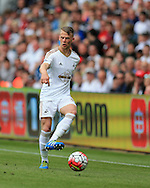 Stephen Kingsley of Swansea city in action.Barclays Premier league match, Swansea city v Manchester city at the Liberty Stadium in Swansea, South Wales on Sunday 15th May 2016.<br /> pic by Andrew Orchard, Andrew Orchard sports photography.
