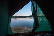 Tent by lower Zambezi River in Mana Pools National Park, Zambia