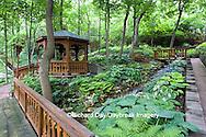65021-028.12 Shade garden with stream on hillside, path, bridges, gazebo,  hostas, ferns,  St. Louis  MO