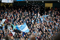 MANCHESTER, ENGLAND - Monday, April 30, 2012: Manchester City supporters during the Premiership match against Manchester United at the City of Manchester Stadium. (Pic by David Rawcliffe/Propaganda)