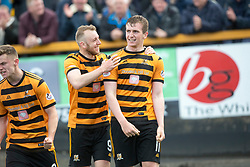 Alloa Athletic's Dylan Mackin cele scoring their fourth goal with the other scorer Greg Spence. Athletic 4 v 3 Brechin City (Brechin won 5-4 on penalties), Ladbrokes Championship Play-Off 2nd Leg at Alloa Athletic's home ground, Recreation Park, Alloa.