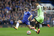 Cesar Azpilicueta of Chelsea challenges Aleksandar Kolarov of Manchester City. The Emirates FA Cup, 5th round match, Chelsea v Manchester city at Stamford Bridge in London on Sunday 21st Feb 2016.<br /> pic by John Patrick Fletcher, Andrew Orchard sports photography.