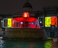 2016-03-23 National Gallery illuminated in Belgian colours