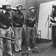 """The Persuasions show off their accapella singing at WERS-FM at Emerson College, Boston, around 1982. One of their early albums was titled: """"We Still Ain't Got No Band."""""""
