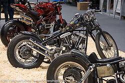 A custom Harley-Davidson Shovelhead by Vlad Romanov of Leecoln Hotrods at the Custom and Tuning Show, which was part of the big Motor Spring show in Moscow, Russia. Friday April 21, 2017. Photography ©2017 Michael Lichter.