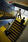 Pupils walk up the stairs at St Paul's Way Trust School, Bow, East London. Fewer than 10% of pupils speak English as their first language and 85% are of Bangladeshi origin at the school.