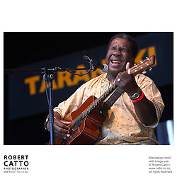 Vusi Mahlasela performs at WOMAD music festival in New Plymouth, Taranaki New Zealand.