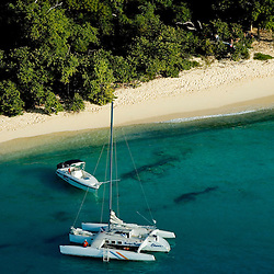 Aerial views of Buck Island Catamaran and pleasure boat in st. croix, USVI